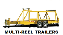 Photo of one of the Multi-Reel Trailers used for transporting all types of reel mounted material.