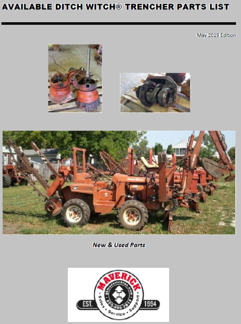 Photo of available DitchWitch Trencher Parts list.